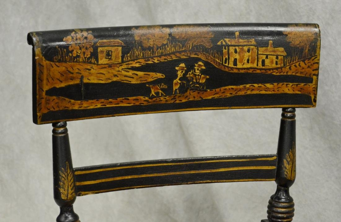 Paint decorated ebonized caned side chair - 2
