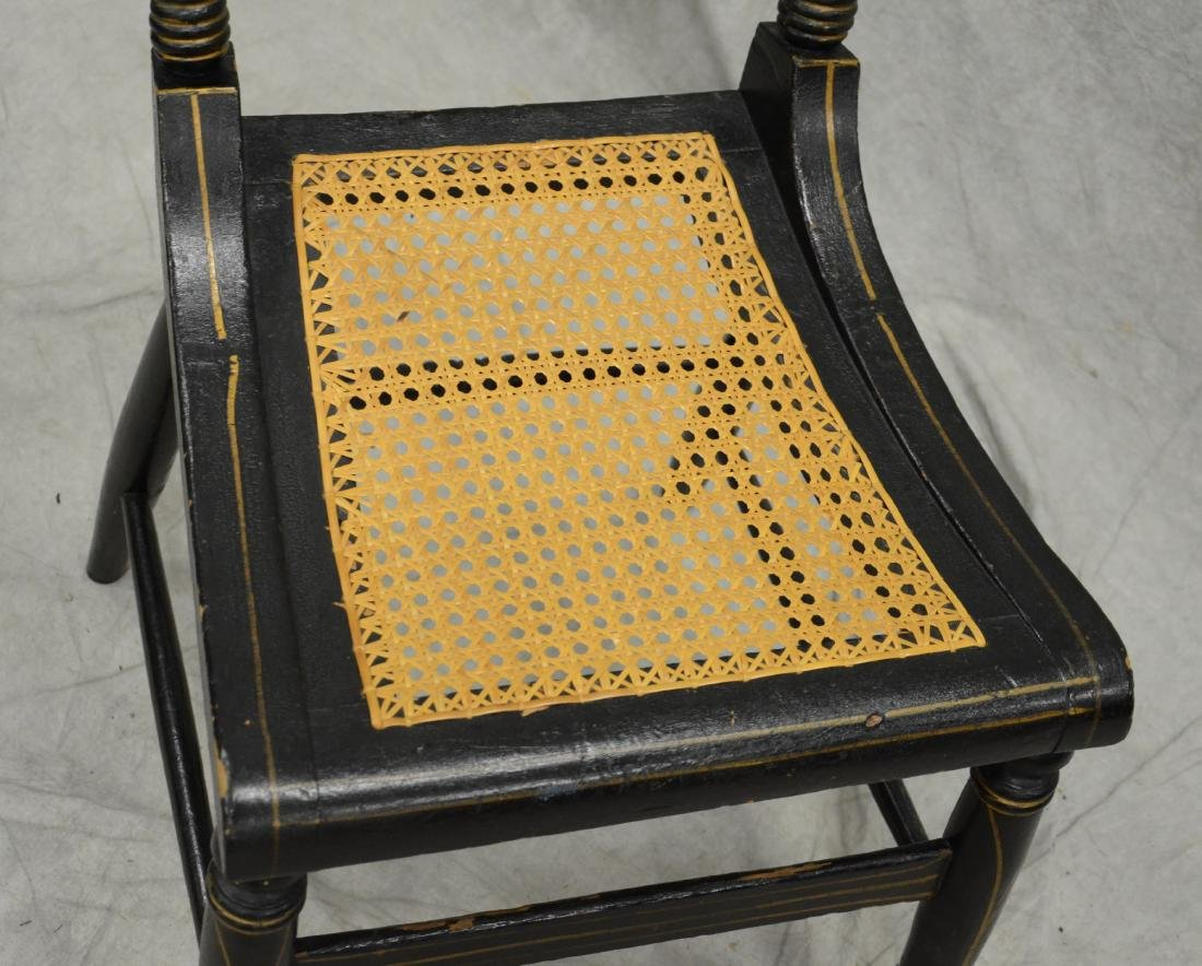 Paint decorated ebonized caned side chair - 3