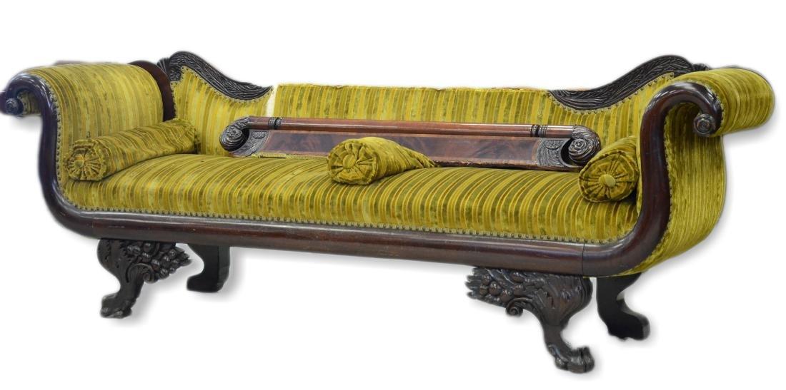 Carved mahogany Federal sofa