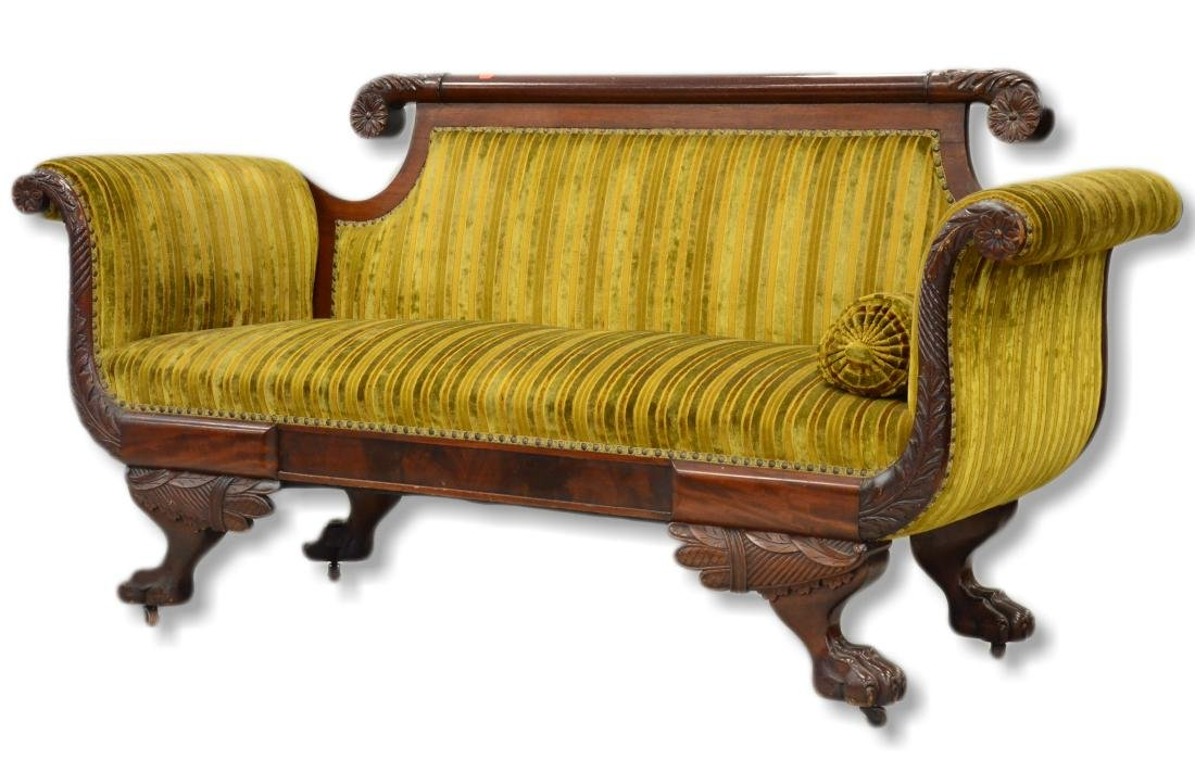 Carved mahogany Federal settee