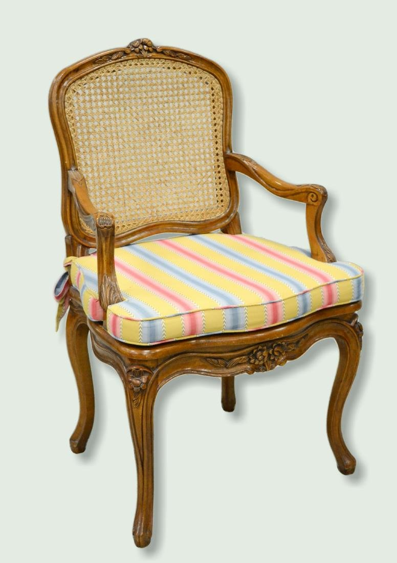 Louis XV style caned armchair