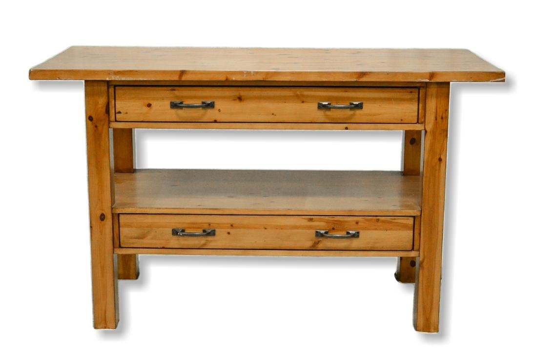 Contemporary pine kitchen island/console table