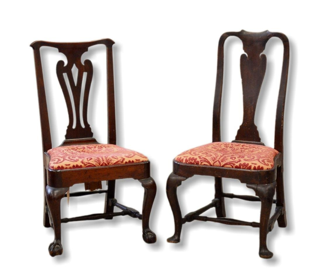 (2) Similar 18th C side chairs