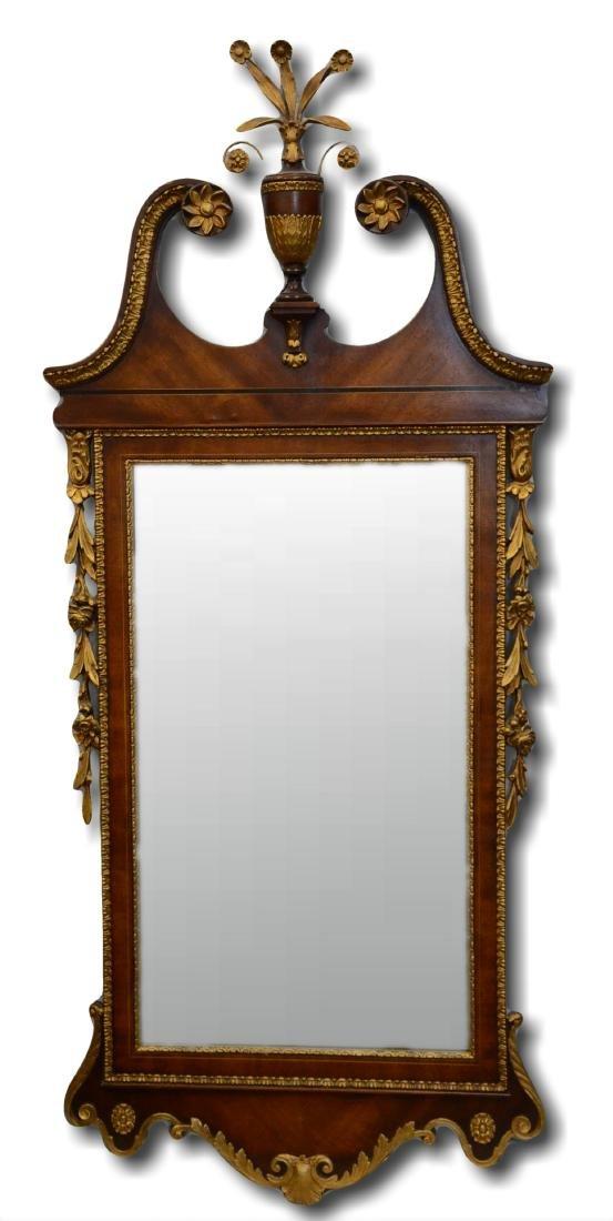 French style gilt carved & burl walnut mirror
