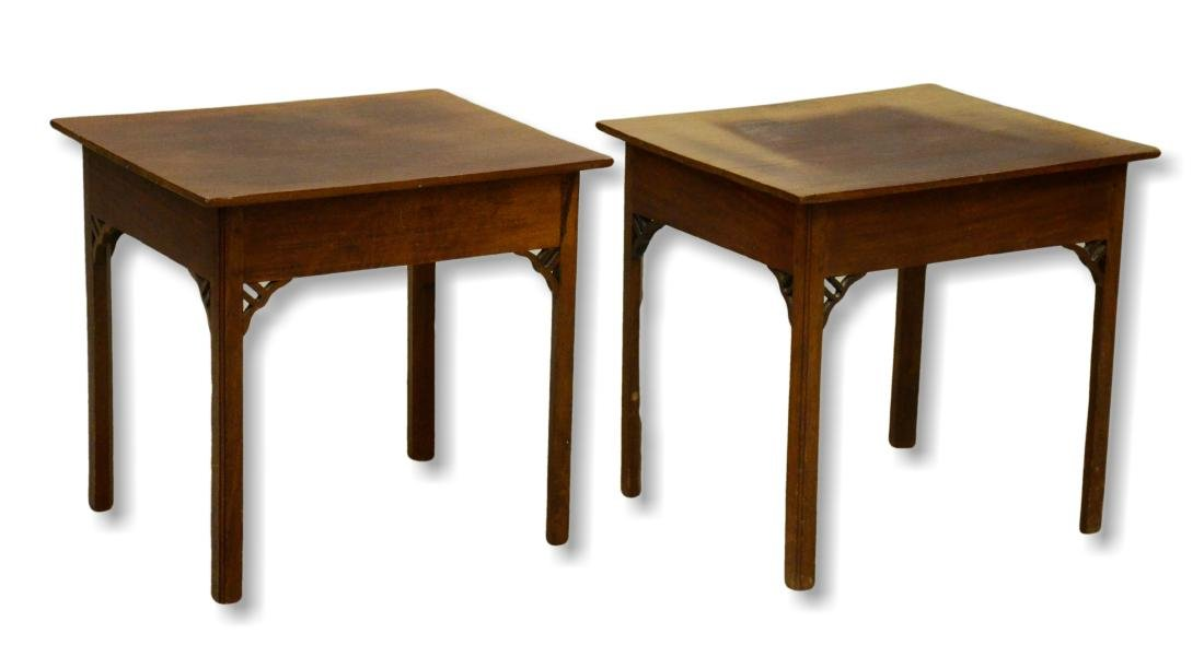 Pr English mahogany side tables