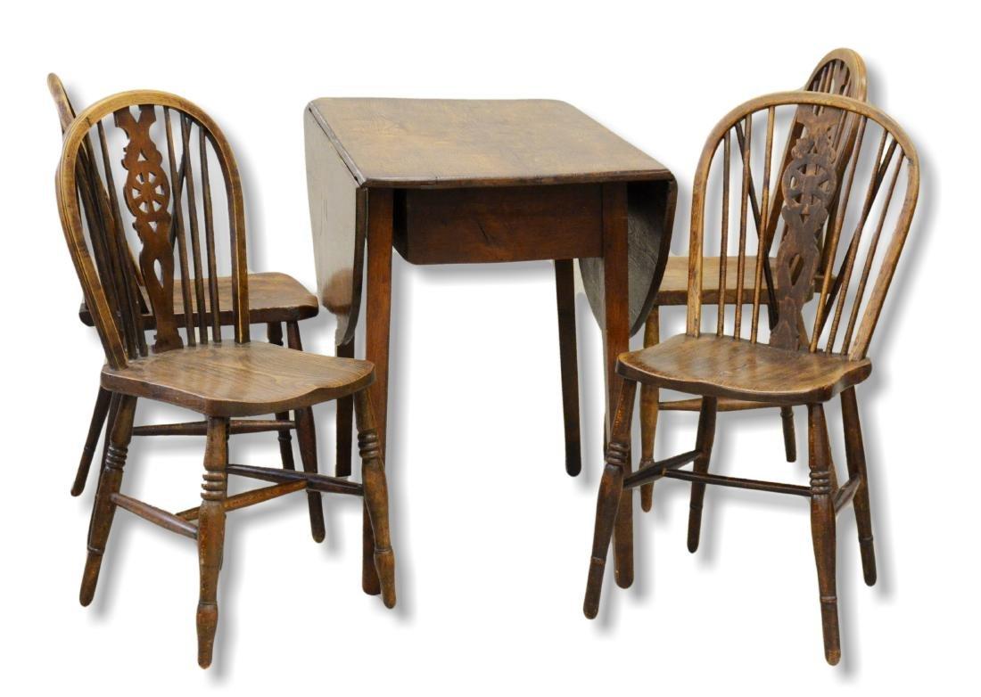 (5) pc 19th C oak dining room set