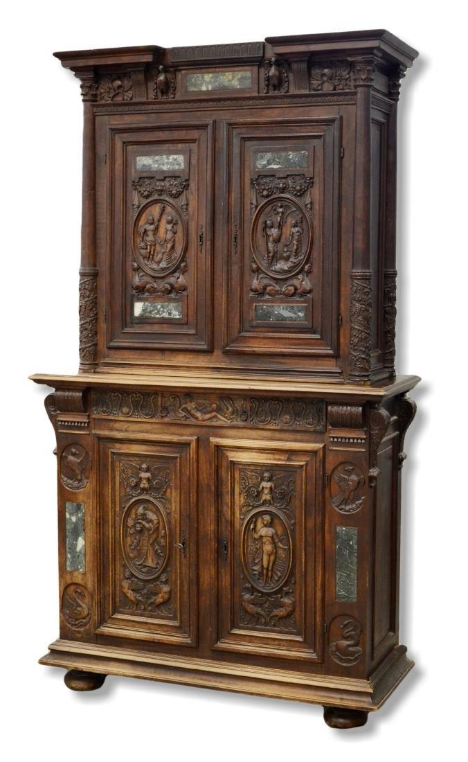 Italian style carved 2 pc walnut cupboard