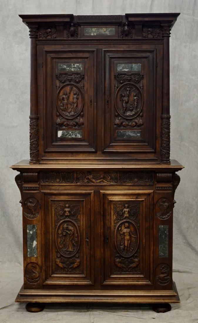 Italian style carved 2 pc walnut cupboard - 2
