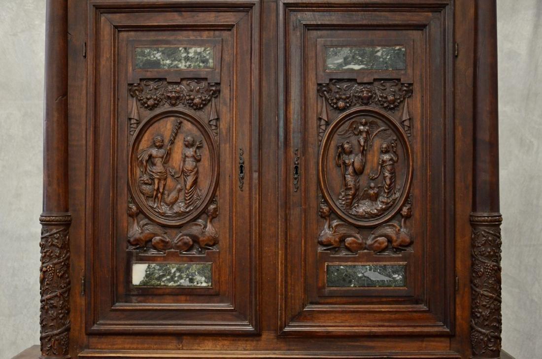 Italian style carved 2 pc walnut cupboard - 3
