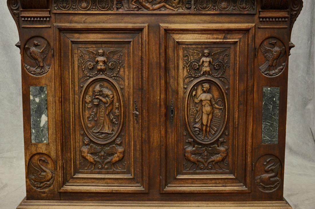 Italian style carved 2 pc walnut cupboard - 4
