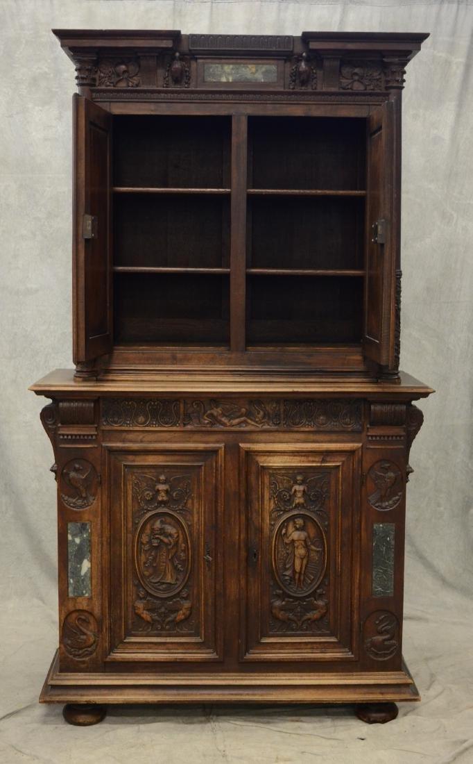 Italian style carved 2 pc walnut cupboard - 7