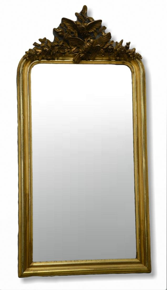 French style gilt carved hanging mirror
