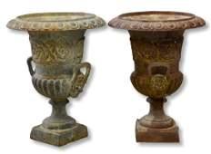 Pair cast iron urns, lion head handles