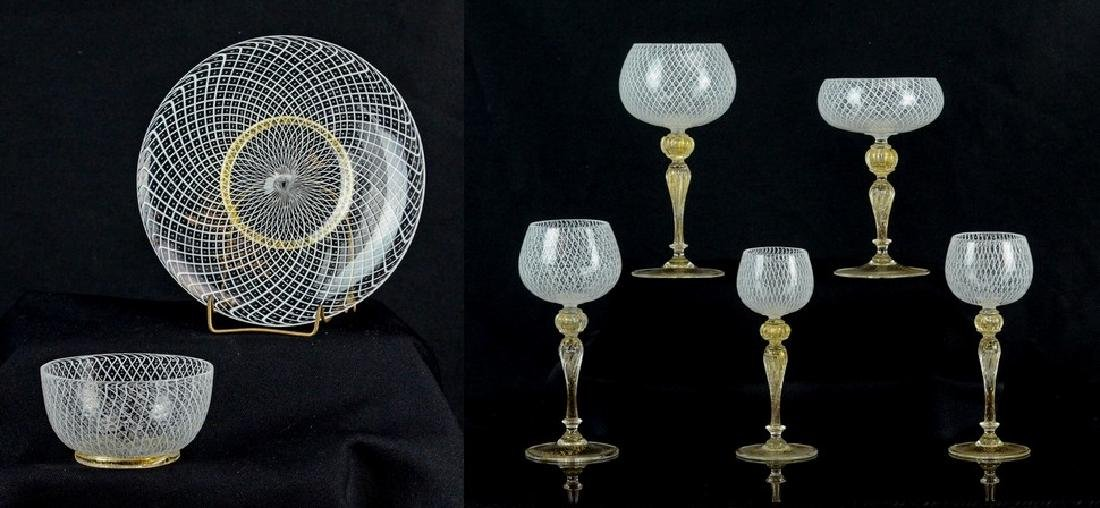 74 pc Venetian Glass gilt and latticework tableware