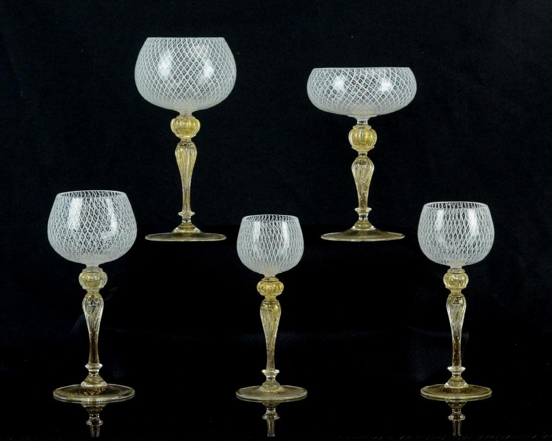 74 pc Venetian Glass gilt and latticework tableware - 3