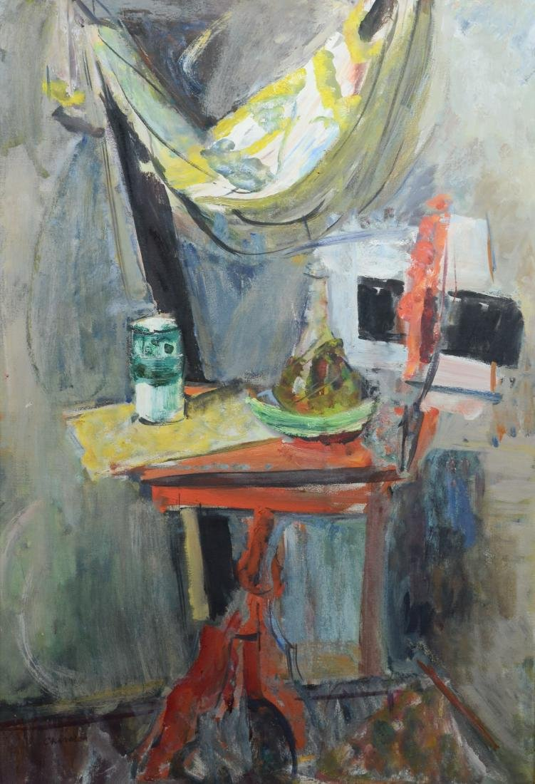 "Carol Chandler, still life, ""Table and Drapery"""