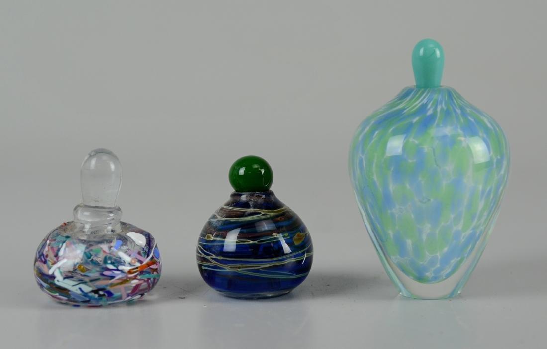 (3) Art glass perfume bottles