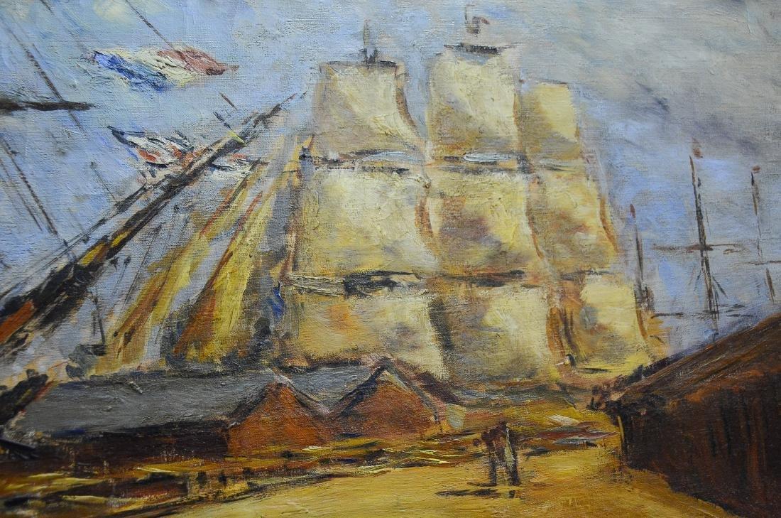 Arturo Souto Feijoo, large harbor scene painting - 9