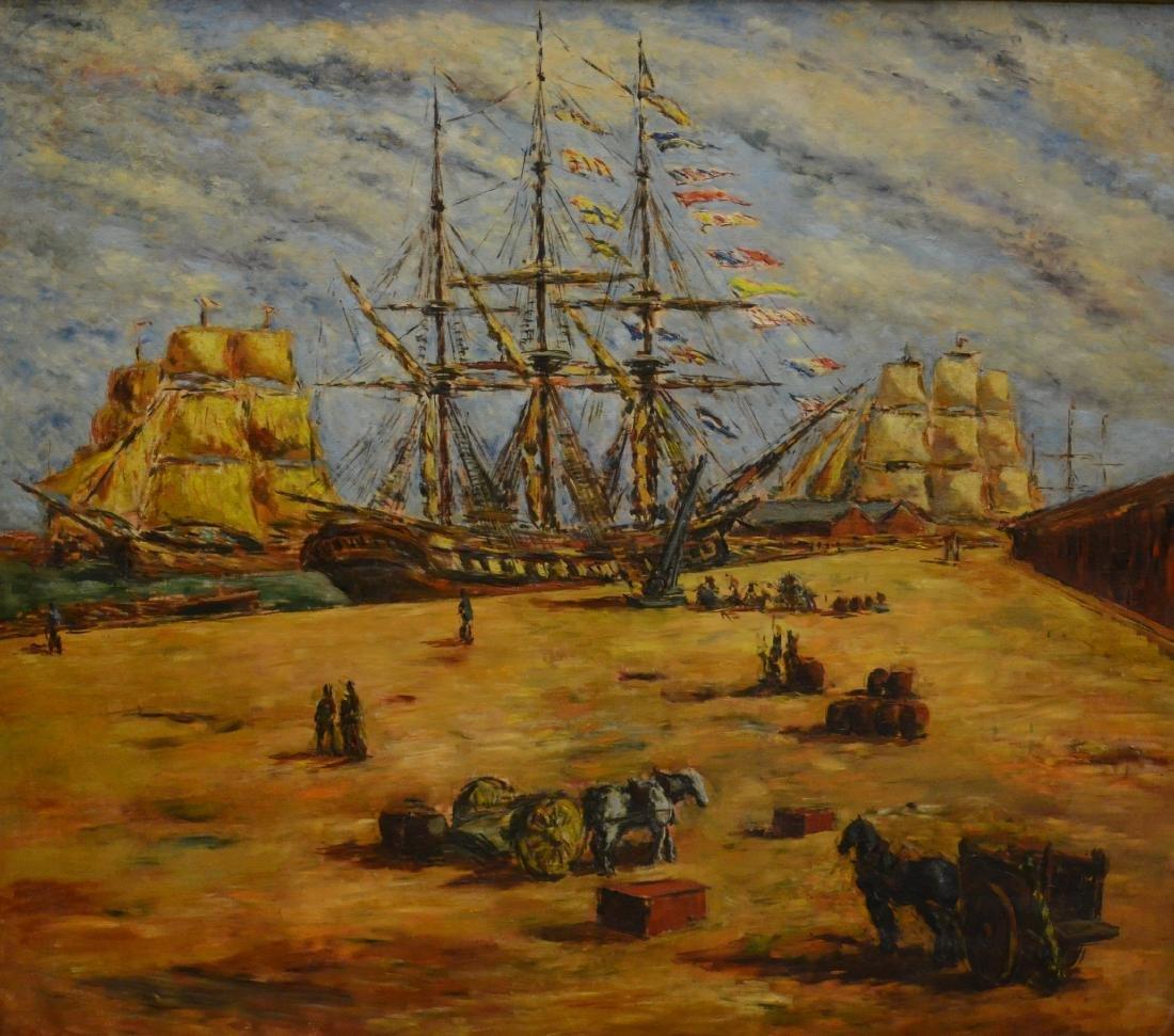 Arturo Souto Feijoo, large harbor scene painting
