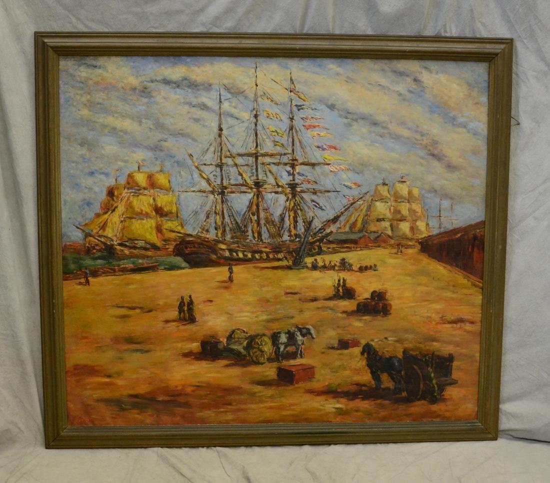 Arturo Souto Feijoo, large harbor scene painting - 2