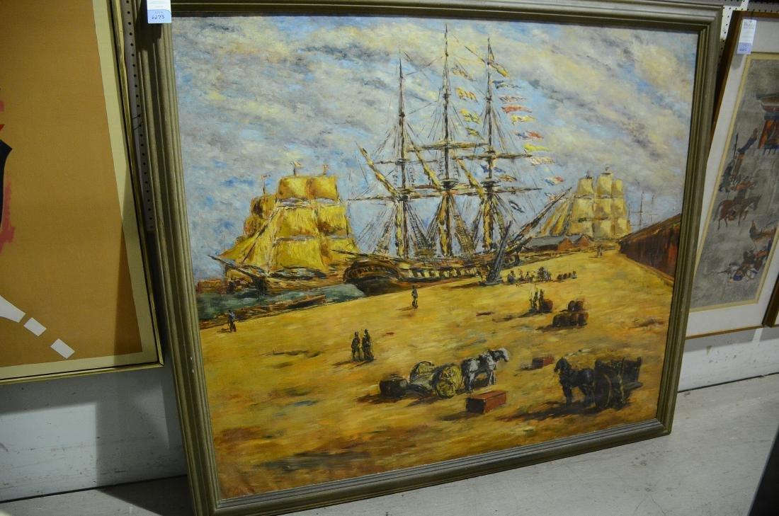 Arturo Souto Feijoo, large harbor scene painting - 5