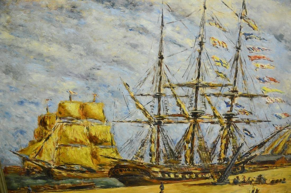 Arturo Souto Feijoo, large harbor scene painting - 6