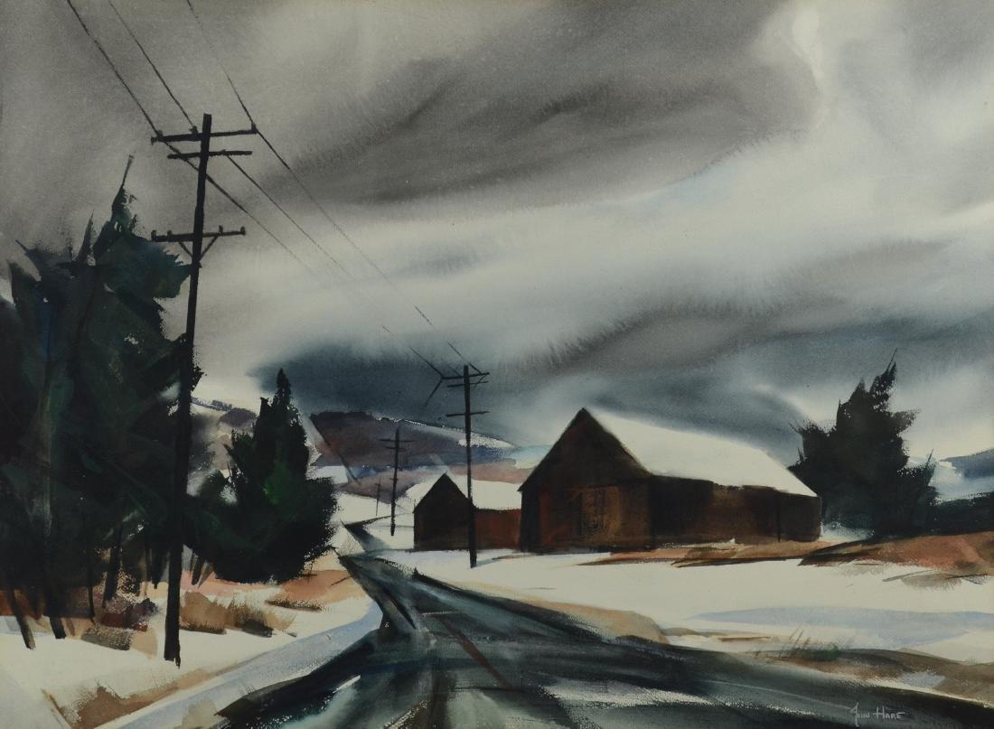 John Cuthbert Hare, winter landscape watercolor
