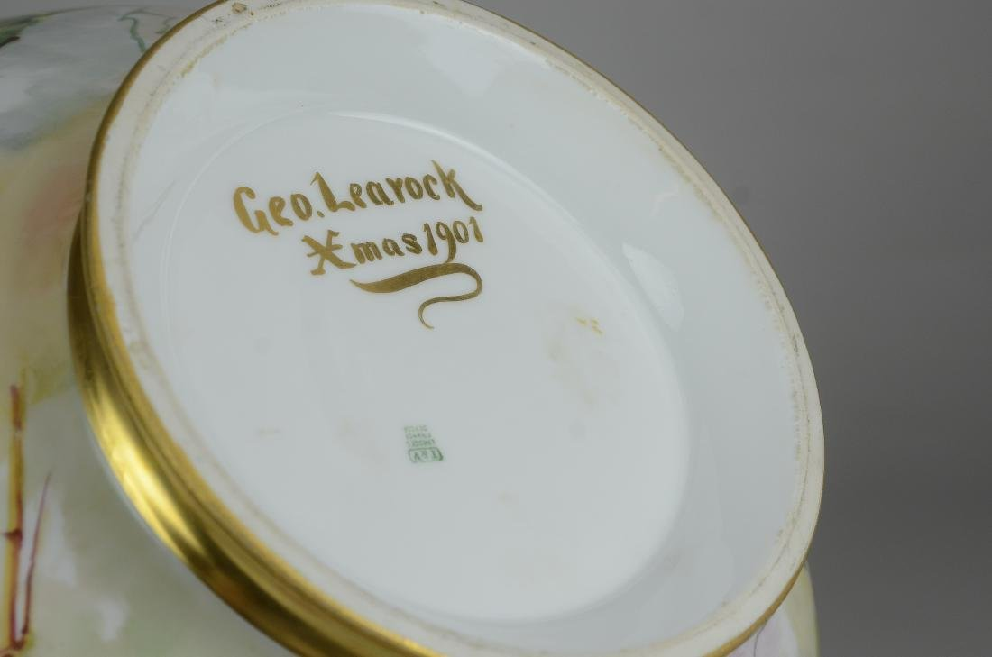 T&V Limoges hand painted footed punch bowl & tray - 10