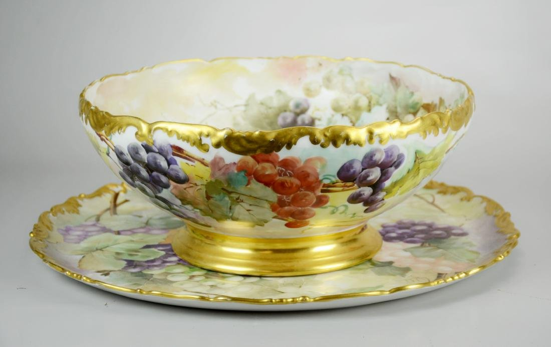 T&V Limoges hand painted footed punch bowl & tray
