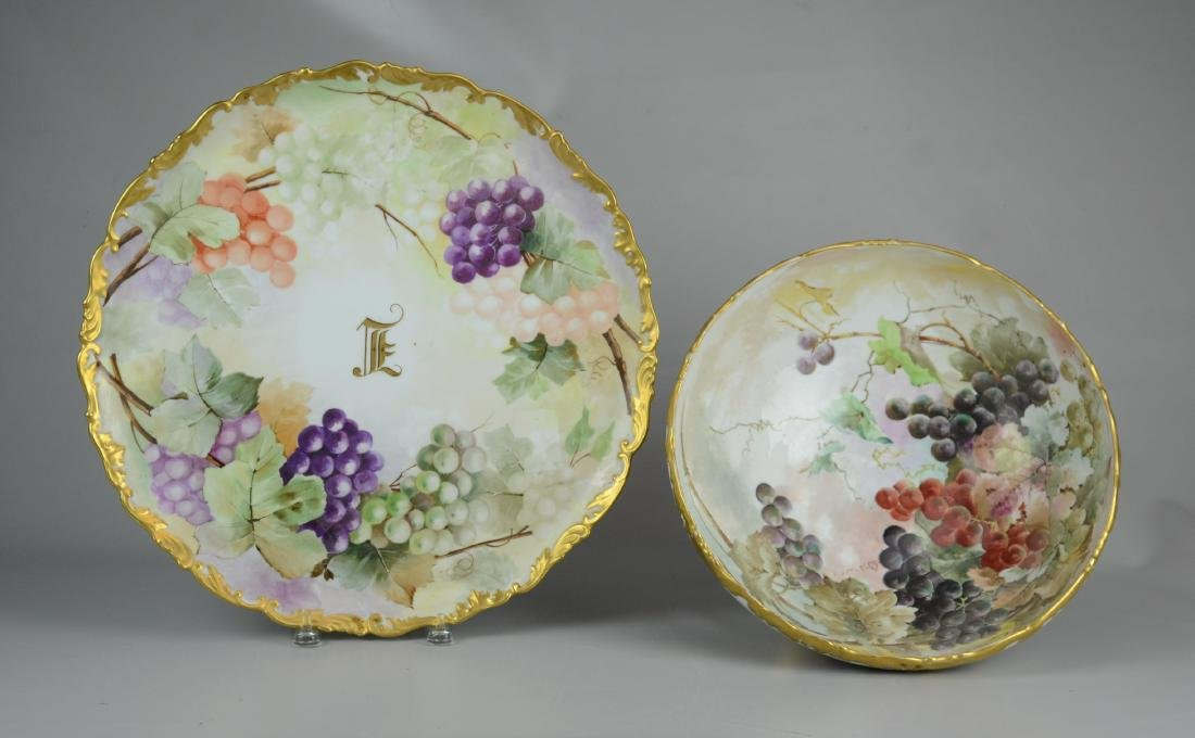 T&V Limoges hand painted footed punch bowl & tray - 2