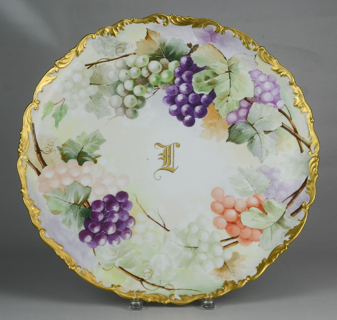 T&V Limoges hand painted footed punch bowl & tray - 5