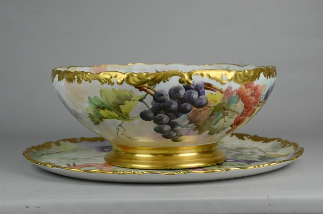 T&V Limoges hand painted footed punch bowl & tray - 8