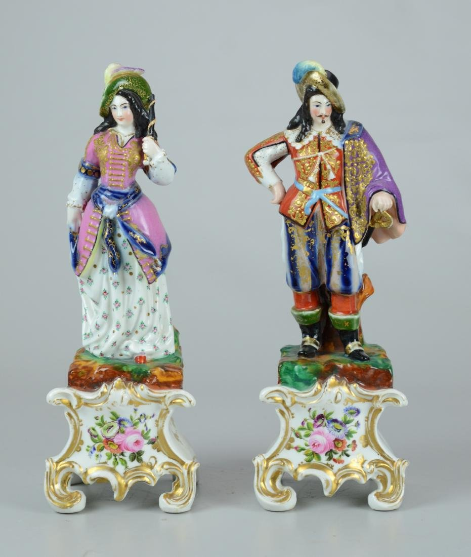 Pr Paris porcelain figurines, man & woman