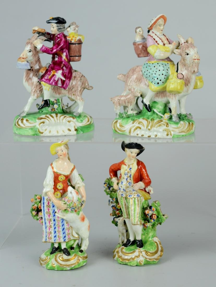 (2) pr Continental porcelain figures