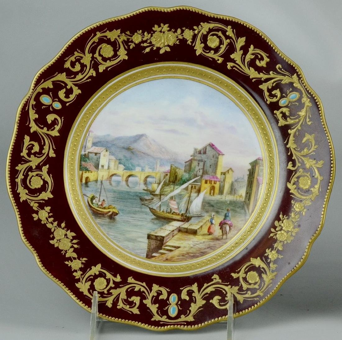 Antique Copeland hand painted scenic cabinet plate
