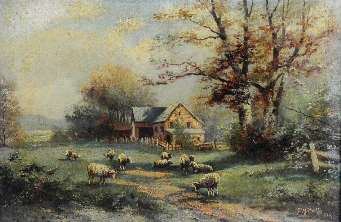 F McCarthy landscape painting with sheep
