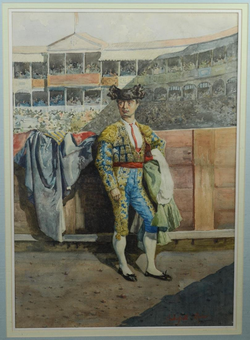 Lambusseti 19th C Italian watercolor painting of a