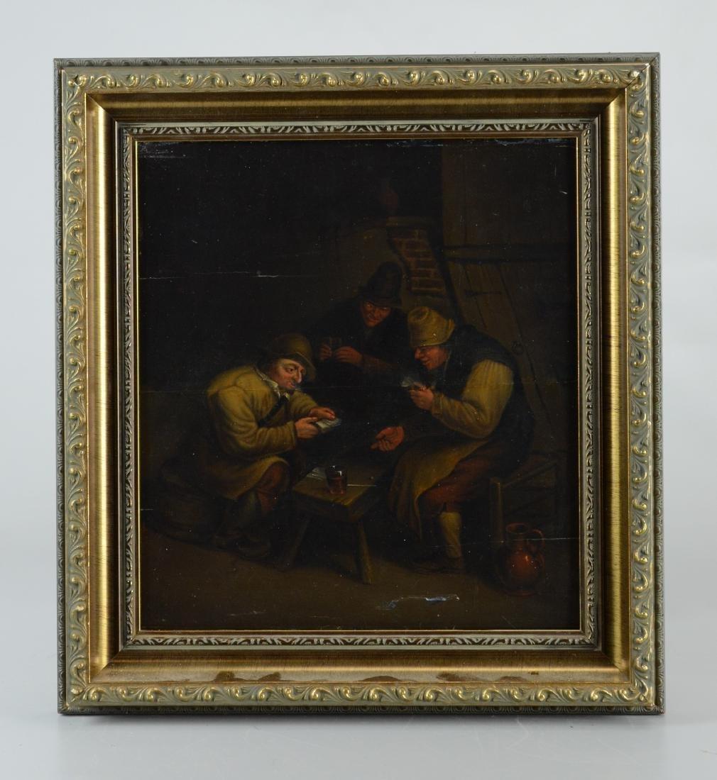 18th cent Dutch oil painting, tavern scene