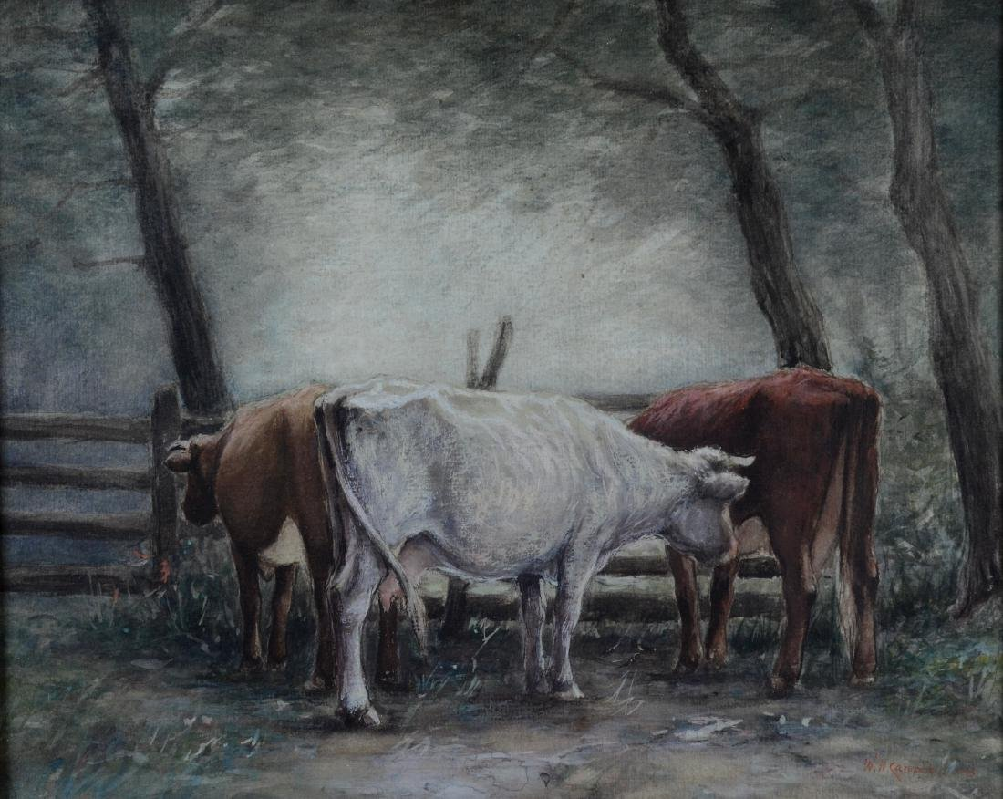 Walter Nugent Campbell watercolor three cows