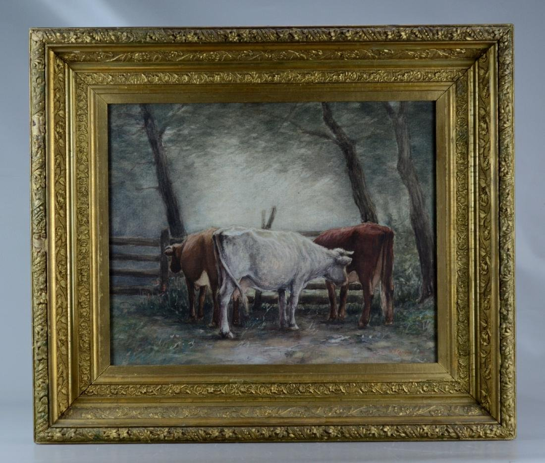 Walter Nugent Campbell watercolor three cows - 2