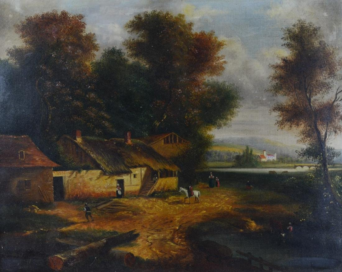 19th cent Continental landscape painting with figures
