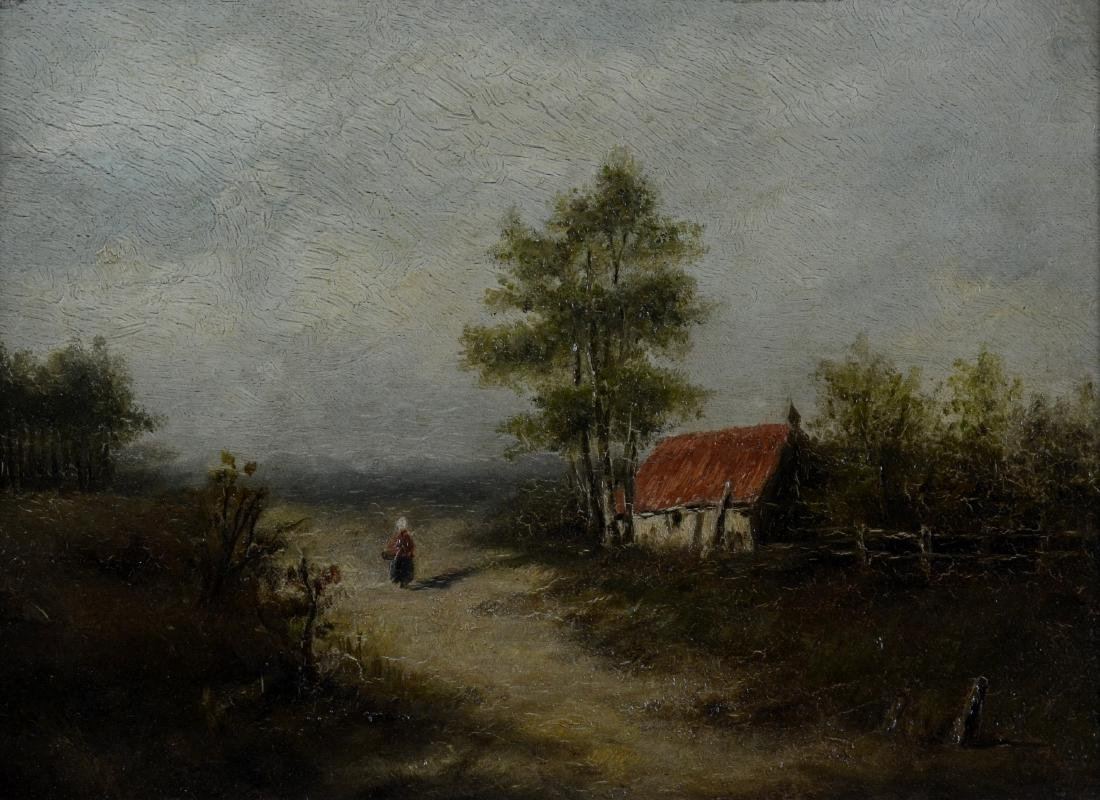 19th C Continental landscape painting with cottage