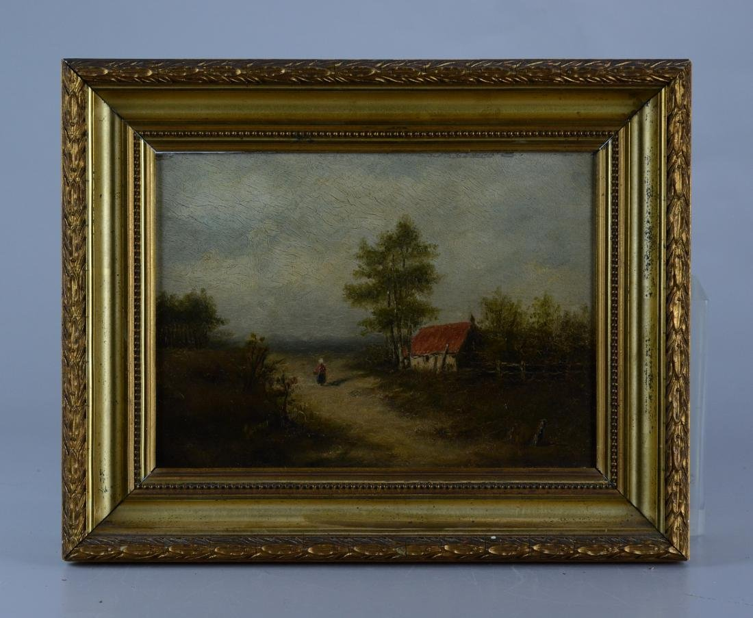 19th C Continental landscape painting with cottage - 2