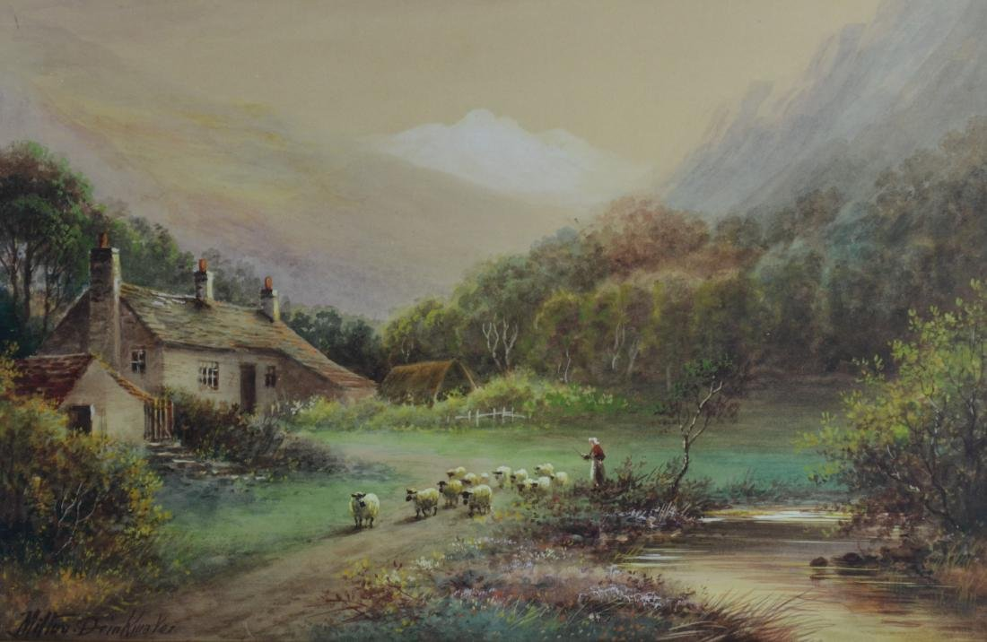Albert Milton Drinkwater, landscape painting with sheep