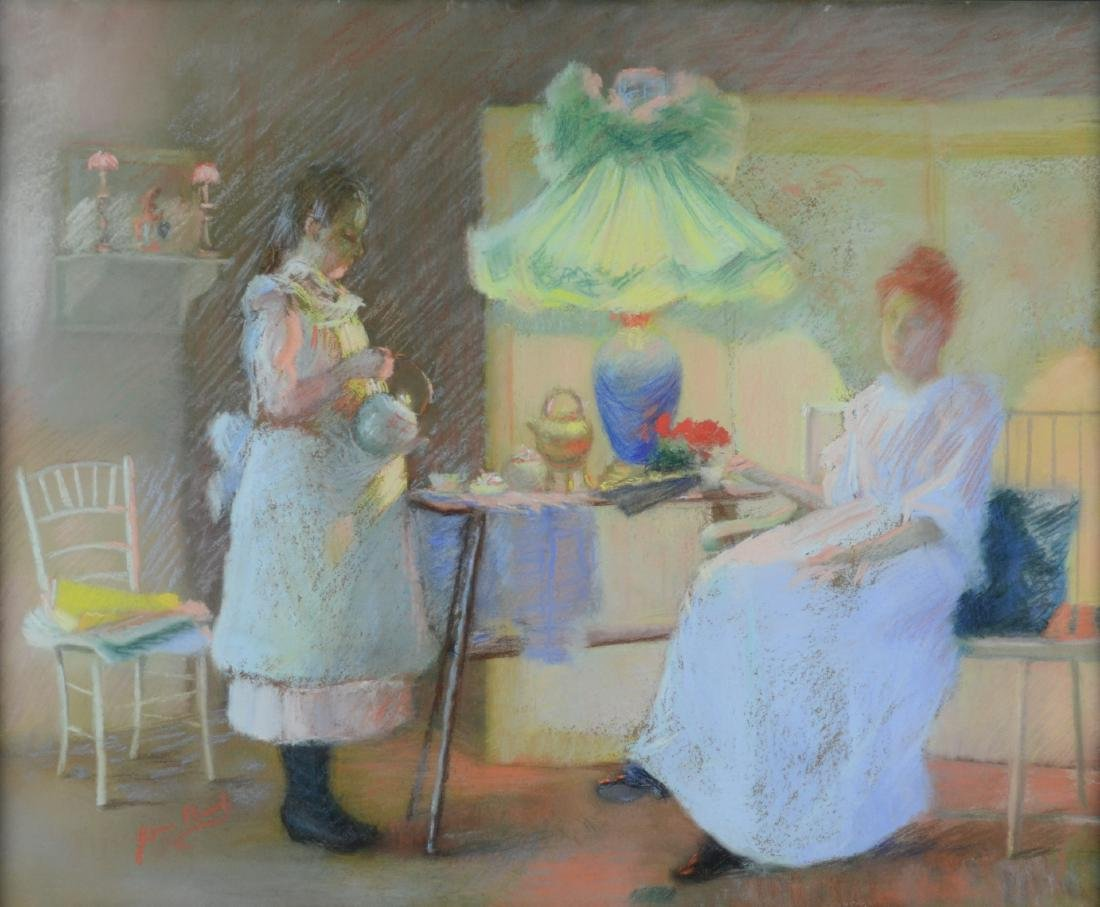 Impressionist pastel drawing of two girls having tea
