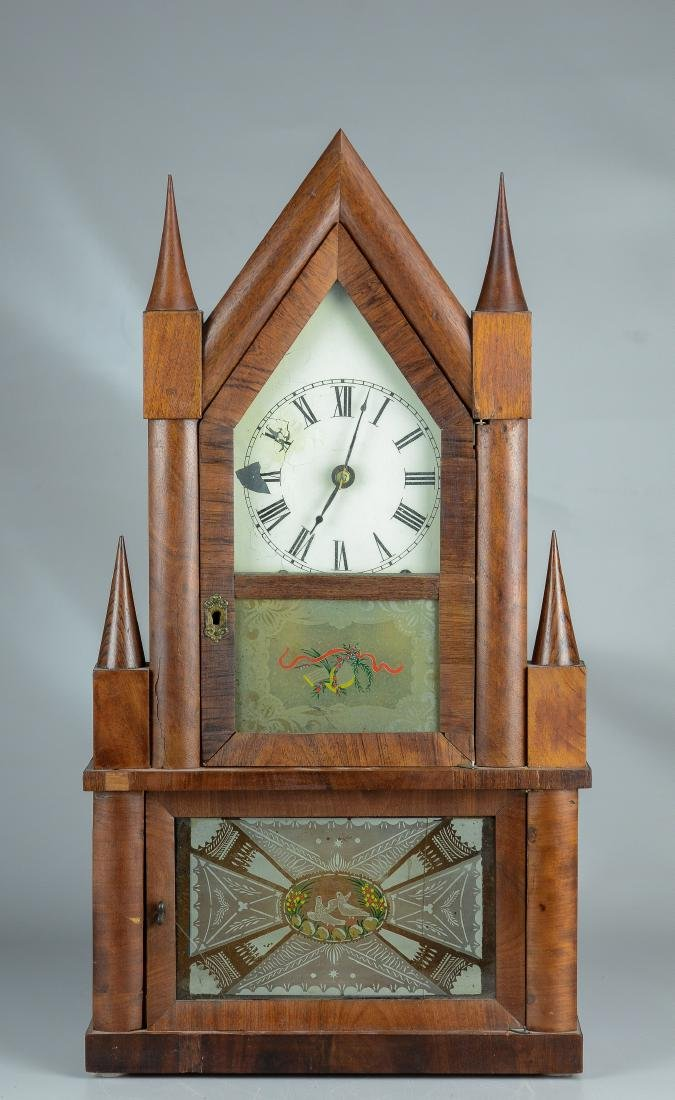 Mahogany double steeple fusee mantel clock