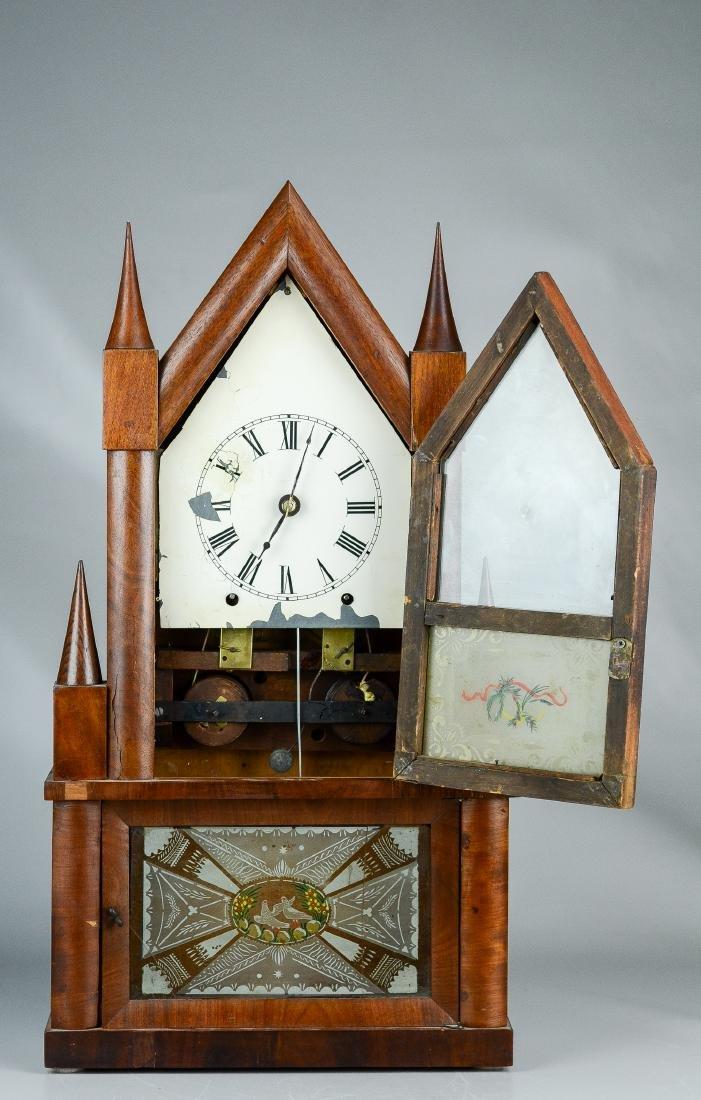 Mahogany double steeple fusee mantel clock - 2