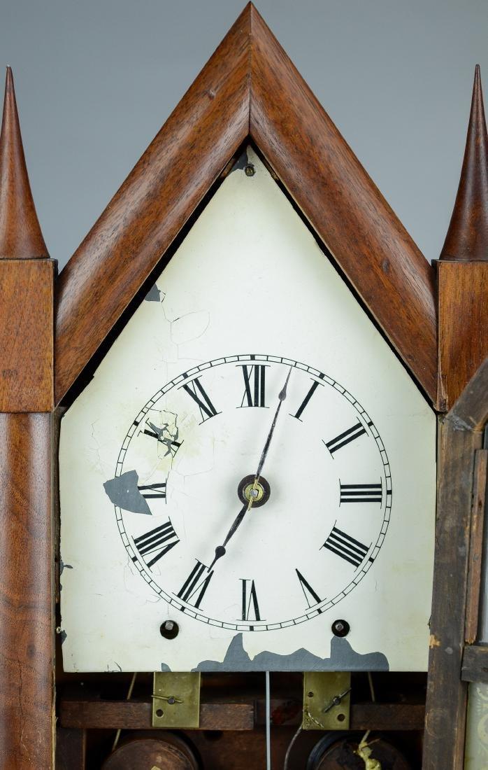 Mahogany double steeple fusee mantel clock - 3