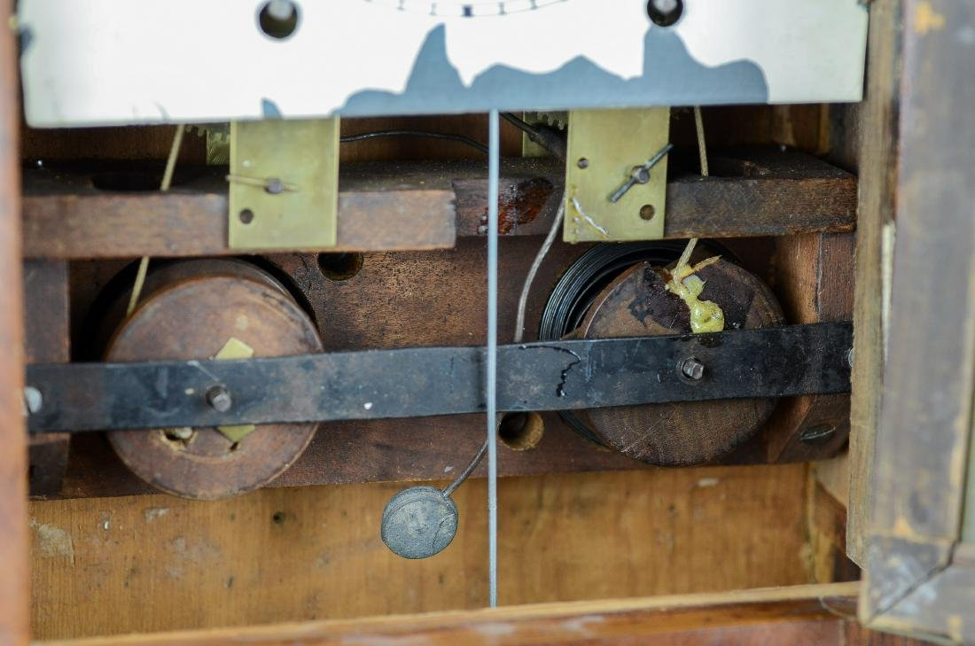 Mahogany double steeple fusee mantel clock - 4