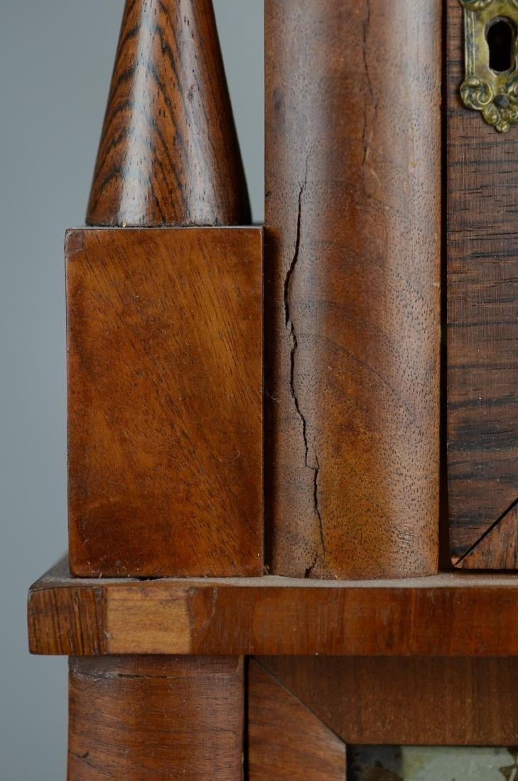 Mahogany double steeple fusee mantel clock - 5